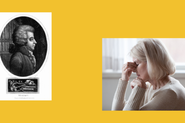 Header image - portrait of Mozart and woman looking depressed on yellow background