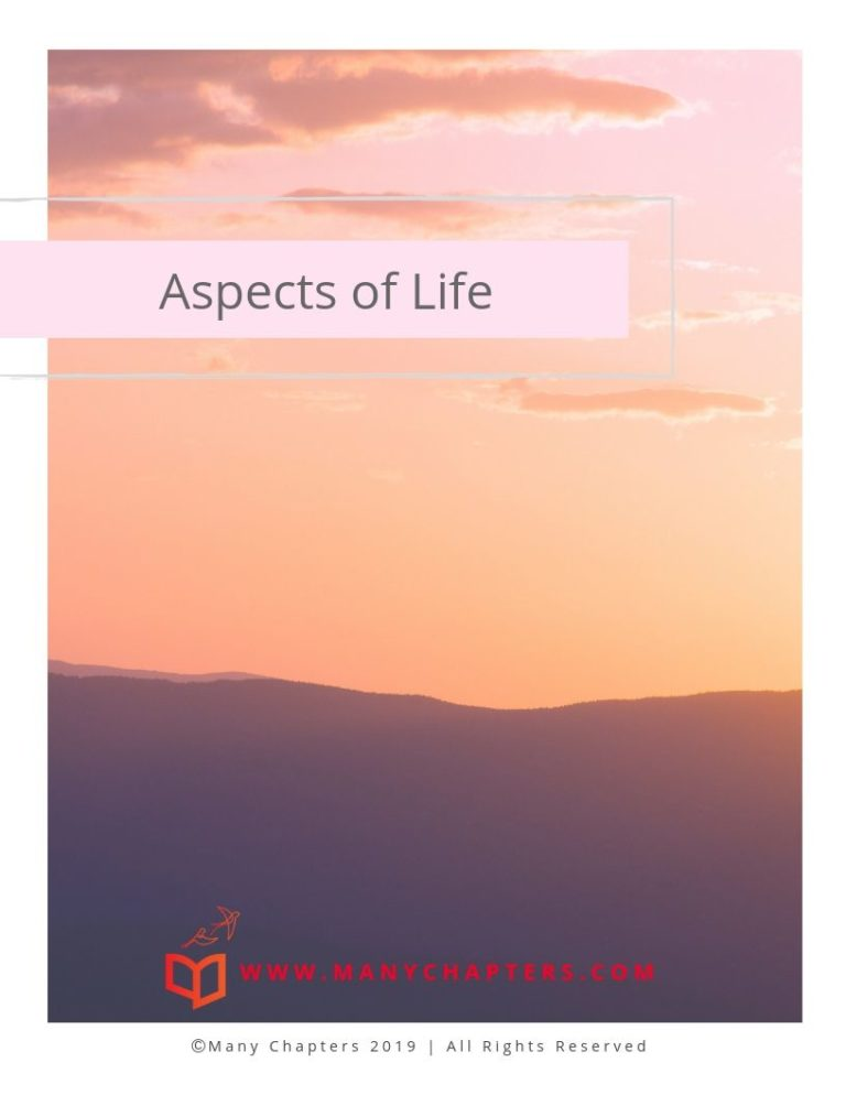 "Title Page for ""Aspects of Life"" Workbook. Has colors of sunrise over mountains."