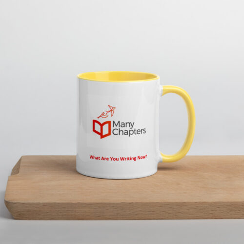 Many Chapters Logo Mug, white ceramic with yellow color inside and on handle.